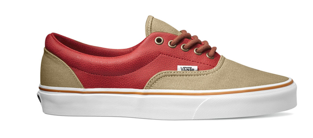 Era Leather Quarter Khaki:Red chassures skate vans